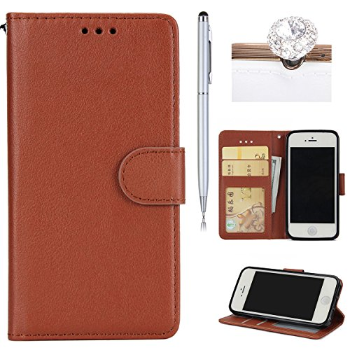 iPhone 5S Coque Dragonne Portefeuille PU Cuir Etui,iPhone 5S Coque Ultra Fine,iPhone SE Etui Cuir Folio Housse PU Leather Case Wallet Flip Protective Cover Etui [PU Cuir et TPU Silicone Inner Case] Po Brun