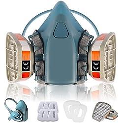 Máscara de Gas Ultra Suave Zelbuck 108 Mascara Pintura Reutilizable Protección Respirador Semimáscara con Doble Filtro para Pintura, Polvo, Productos Químicos, Lijado a Máquina, Formaldehído