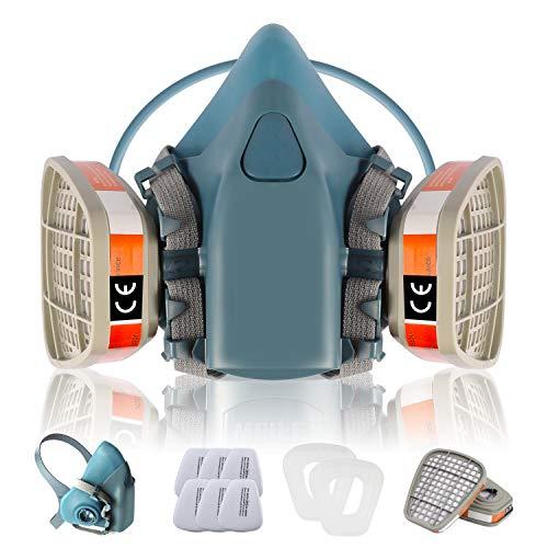 Atemschutzmaske CofflyTM ZT-32 Superweiche Staubmaske Hlabmaske Set Gasmaske mit Filter Gegen Gase, Dämpfe und Partikel Lackiermaske Respirator für Handwerker, Heimwerker, Farbspritz und Pestizid usw