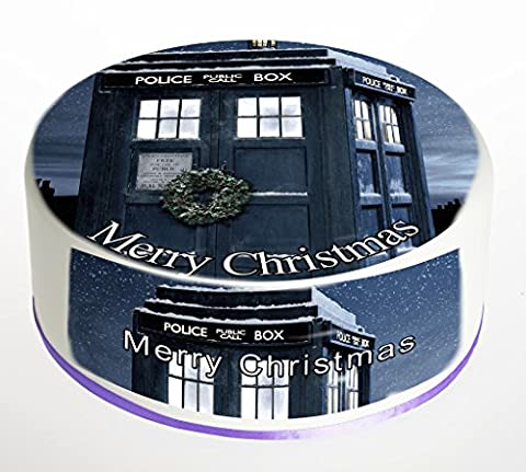 Doctor Who Tardis Christmas Cake Topper Merry Christmas Cake Topper. Round Cake Topper. Edible Rice Paper Wafer 7.5 inch cake topper with FREE Banner!