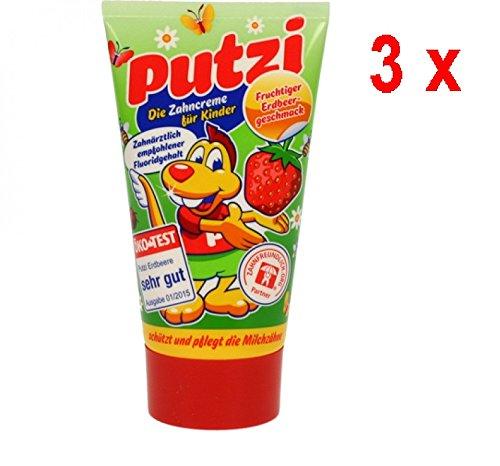 Putzi Zahncreme für Kinder Erdbeere - 3er Pack (3 x 50 ml)