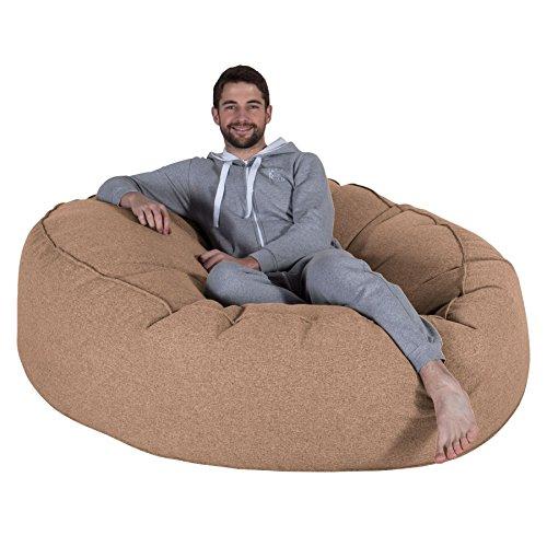 Lounge Pug, 'Mega-Mammoth' Sofa Sitzsack XXL, Schlafsofa, Interalli Wolle Sand