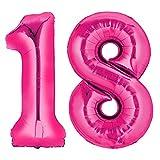Ballon Zahlen 1-99 in Silber - XXL Riesenzahl - zum Geburtstag - Riesen Luftballon (18 Pink)