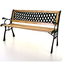 Marko Outdoor Wooden 3 Seater Cross Lattice Garden Bench Park Seat with Cast Iron Legs
