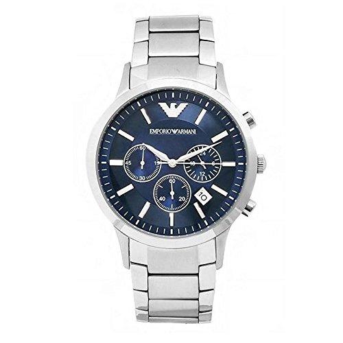 Reloj para hombre de EMPORIO ARMANI, modelo AR2448, de cuarzo, con esfera azul, de acero inoxidable, con cronógrafo