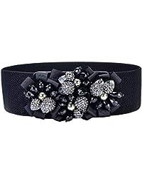 YHDD Las Mujeres de Las Mujeres Hechas a Mano de la Flor Ancha elástica de  la Cintura Accesorios Decorativos de la Faja Sub cinturón… 67bf23fa0229