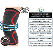 Lumino Cielo Athletic Compression Knee Brace for Joint Pain Relief, Arthritis, Injury Recovery, Sports, Hiking, ACL recovery (One Piece) (M, Red Trim)