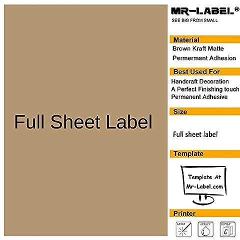 Mr-Label® Feuille entière Blank Kraft Labels -Self Adhesive Stickers pour la décoration cadeau | main artisanale | La touche finale (25 feuilles)