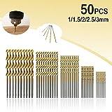 Spiralbohrer MOHOO 50 1/1,5/2/2,5/3 mm Metallbohrer HSS Stahlbohrer Satz Bohrer für Holz Kunststoff und Aluminium Kupfer Stahl (Spiralbohrer)