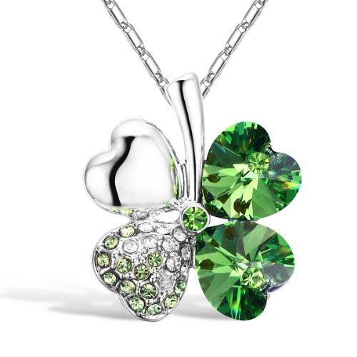 Merdia Vierblättriges Kleeblatt Herzförmige Kristall Halskette 16