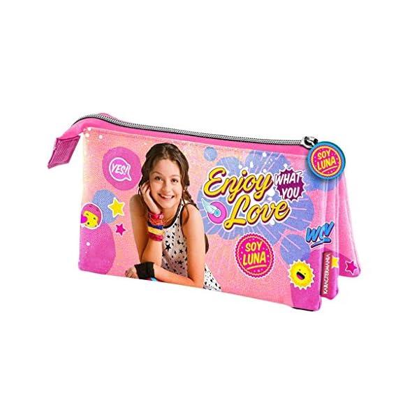 Soy Luna Estuche portatodo Triple, Color Rosa, 22 cm (Karactermanía 32282)