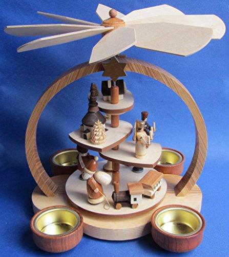 Teelicht Pyramide 23cm Weihnachtsmotiv natur - Handarbeit aus dem Erzgebirge !