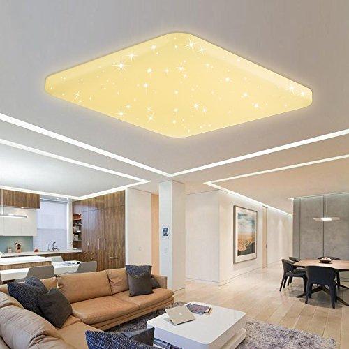 HG® 60W LED Deckenleuchte Deckenbeleuchtung Warmweiß Wandlampe eckig Deckenlampe Esszimmer Wohnraum Badlampe Sternenhimmel Panel Sternen Mordern Decken Energiespar Leuchtmittel Dekor EEK A++