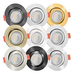 10x LED Einbaustrahler Aluminium rund 230V   90 Cri   flach 25mm   DIMMBAR   7W statt 90W   60° & schwenkbar   warmweiß 2700K   9 Farben zur Auswahl (Eisen-gebürstet)