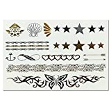 Latest Summer Fashion Temporary Black Gold Silver Metallic Flash Body Tattoos Bracelets & Necklaces 41 Patterns By Lizzy (101) by Lizzy