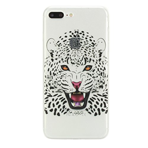 Coque Housse Etui pour iPhone 7 Plus/iPhone 8 Plus, iPhone 8 Plus Coque en Silicone Noctilucent Etui Housse, iPhone 7 Plus Slim Coque Transparent Soft Etui Housse, iPhone 7 Plus Silicone Case Luminous tête de tigre