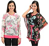 Timbre Women/Girls Stylish Georgette Tops And Kaftan Combo Pack Of 2