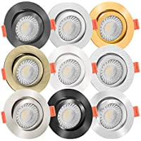 Innenbeleuchtung 5 Stück SMD LED Einbaustrahler Lena 230 Volt 9 Watt Schwenkbar Silber/Neutralweiß