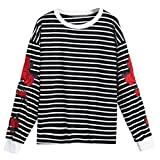 Women Blouse ,Women Long Sleeve Embroidery Striped Casual Blouse Tops (L, Black)