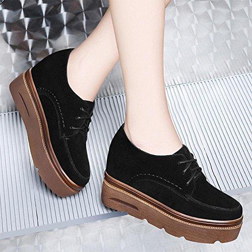 Sciocchezza fondo pesante scarpe aumentato nei comparti singola scarpa stringata Ms. Spring Flats Black