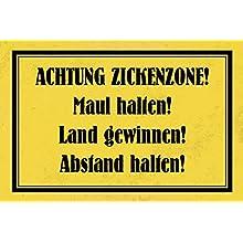 """Schatzmix - Targa in metallo con scritta in lingua tedesca """"Achtung Zickenzone"""" Targa in metallo, decorazione da parete, 20 x 30 cm"""