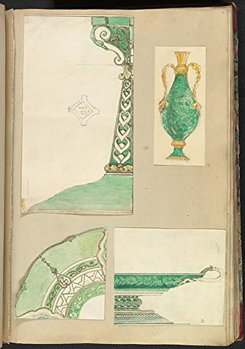 Footed Candlestick (Alfred Henry Forrester [Alfred Crowquill] - Designs for a Candlestick Two Handled Vase Decorated Plate and Footed Dish Kunstdruck (45,72 x 60,96 cm))