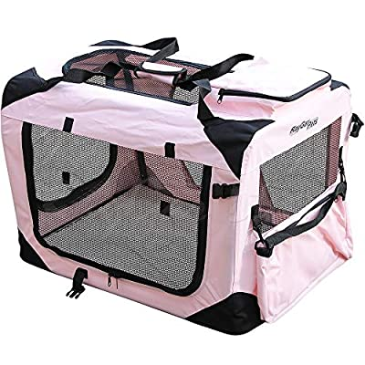 RayGar® PINK DOG PUPPY CAT KITTEN PET SOFT FABRIC PORTABLE FOLDABLE STRONG CRATE PET CARRIER KENNEL CAGE