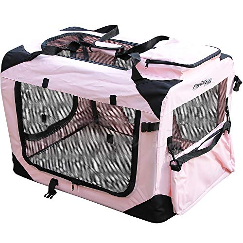 RayGar® PINK DOG PUPPY CAT KITTEN PET SOFT FABRIC PORTABLE FOLDABLE STRONG  CRATE PET CARRIER KENNEL CAGE 0139f70c52
