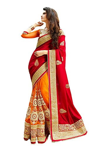 Red & Orange Satin & Net Lace Work, Moti Work, Stone Work, Patch Work aree with Blouse Pis