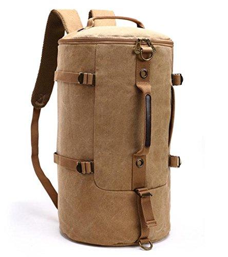 &ZHOU Borsa di tela, Zaino grande capacità secchio borsa canna pacchetti zaino viaggio sacchetti di alpinismo, computer borse borsa Messenger borsa uomini e donne , black Khaki