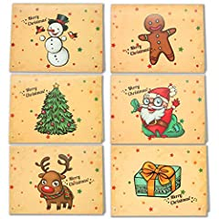 Idea Regalo - LEHOUR 30 PC Cartoline di Natale allegre Cartoline di Babbo Natale con buste e adesivi per le vacanze natalizie (Babbo)