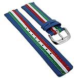 Bruno Banani Ersatzband Uhrenarmband 21mm aus Leder blau bunten Streifen CD2194