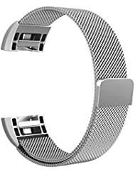 "Fitbit Charge 2 Armband, Swees Milanese Edelstahl Replacement Wrist Band Strap Watchband Uhrband Uhrenarmband mit Magnet-Verschluss und Metallschließe für Fitbit Charge 2 Smartwatch Small & Large (5.5""9.9"")"