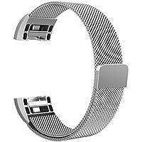"Fitbit Charge 2 Cinturino, Swees chiusura magnetica Milanese Loop in acciaio inox cinturino bracciale per Fitbit Charge 2 (5.5""-8.5"") - Argento"