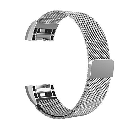 "Fitbit Charge 2 Armband, Swees Milanese Edelstahl Replacement Wrist Band Strap Watchband Uhrband Uhrenarmband mit Magnet-Verschluss und Metallschließe für Fitbit Charge 2 Smartwatch Small (5.5""-8.5"") - Silber"