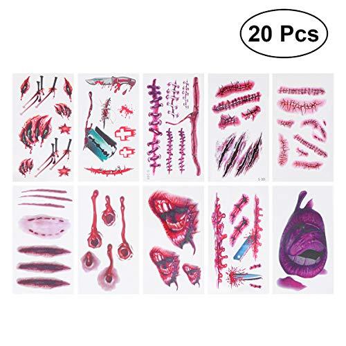 Frcolor 20pcs Cicatriz Herida sangrienta Realista Etiqueta engomada Temporal del Tatuaje Puntada Scab Props para Halloween Masquerade Cosplay