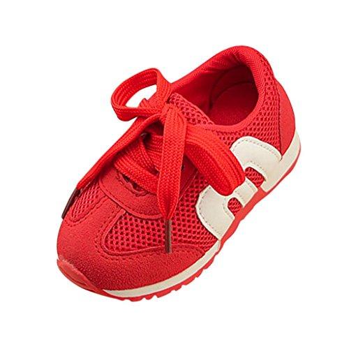 1 Schwarz Rot Herren Turnschuhe (Unisex Mesh Hohl Sneaker Kleinkind Kinder, DoraMe Baby Jungen Mädchen Atmungsaktive Turnschuhe Flache Loafers Sport Schuhe Läuft Weich Boden Schuhe für 1-6 Jahr (1 Jahr/Size(CN):21, Rot))
