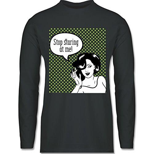 Shirtracer Comic Shirts - Stop Staring At Me! - Herren Langarmshirt Dunkelgrau