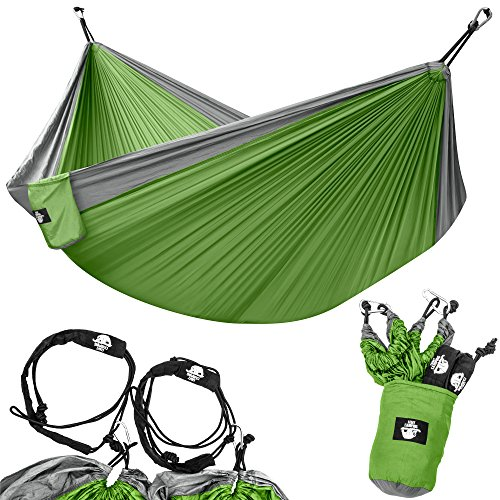 Legit Camping - Doppelhängematte - leichte Fallschirmhängematte für Wandern, Reisen, Rucksackreisen, Strand, Hofausrüstung inklusive Nylon-Gurten und Stahlkarabinern, Graphite/Lime Green