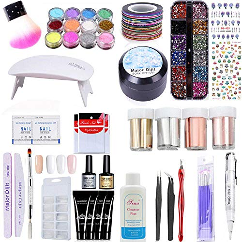 Aolvo Poly Gel Set, Nail Gel Starter Set All-in-One Poly Nail Gel Kit with UV Lamp, Poly Gel, Rhinestone Gel, Matte Nail Foil, Top Coat & Base Coat & Other Tools -