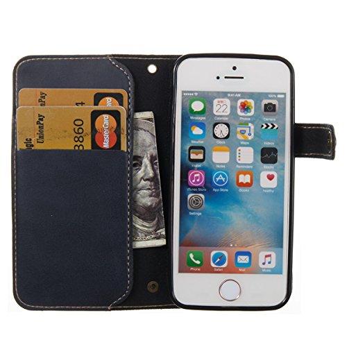Étui en cuir pour iPhone 5s, Lifetrut [Machines à sous en carte] Étui de Portefeuille en Cuir élégant Flip Folio en cuir avec Boucle Latérale et Doublure pour iPhone 5s [Rouge] E203-Marine