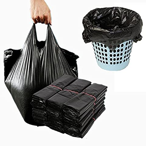Müllbeutel schwarz (100Stück) Einweg Windeltaschen mit praktischen Griff Beziehungen, Einweg Müllsäcken, strapazierfähigem Trash Tasche
