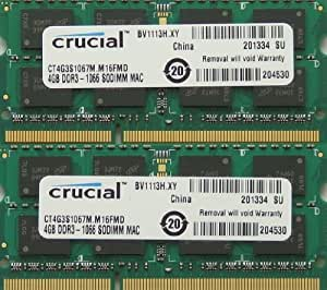 Ram memory 8GB kit, (2 x 4GB), DDR3 PC3-8500, 1067MHz, 204 PIN SODIMM for late 2008/2009 and Mid 2010 Macbook's