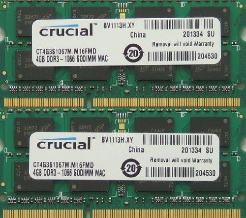 Ram memory upgrade 8GB kit (2 x 4GB) DDR3 PC3 8500 1067MHz...