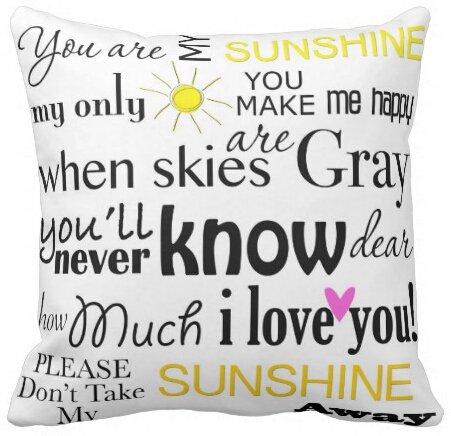 uniquetype Sie sind My Sunshine Farbe Zitate quadratisch Reißverschluss Überwurf Kissen Displayschutzfolie Kissenbezüge Twin Seiten Art, schwarz, 20x20 inch (Teal Hochzeit Farben)