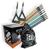 R&RGbR Resistance Bands Widerstandsband Set- Krafttraining - Fitnessbänder - Set : 5 Widerstandsbänder, Türanker, 2 Fussschlaufen, Griffe, Sportbeutel