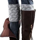 Hiver Femmes Brief Paragraphe grossier aiguille Jambières, Court Boot Cover Socks (Gris)