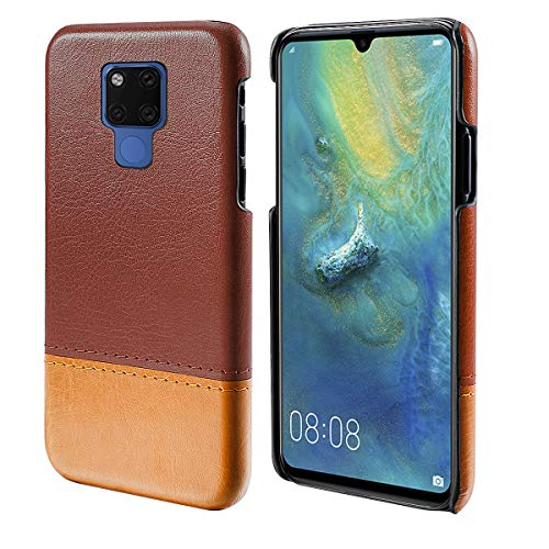 Obamono Case for Huawei Mate 20 X (5G), [Extra Card Slot] [Wallet Case] PU Leather TPU Casing PU [Drop Protection] Cover for Huawei Mate 20 X (5G), Brown-Light Brown -