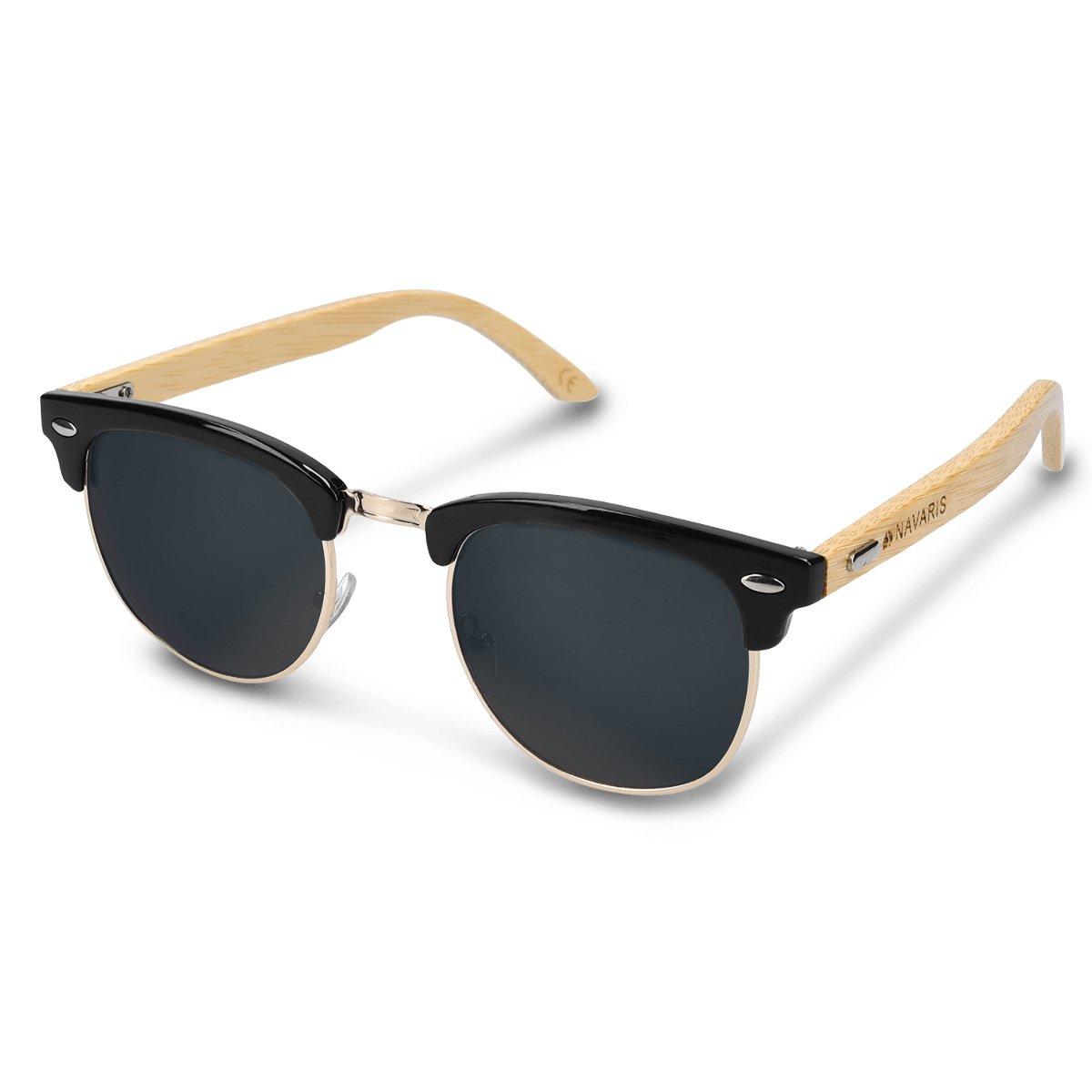 c85b2e49a8f7 Navaris Holz Sonnenbrille UV400 - Damen Herren Retro Brille Holzoptik -  Unisex Bambus Holzbrille mit Etui - unterschiedliche Farben