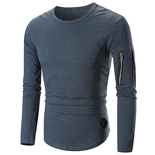 Herren Oberteile,TWBB Vintage Seitlicher Reißverschluss Dekoration Shirt Männer Tops O-Ausschnitt Lange Ärmel Schlank Hemd Persönlichkeit Sweatshirts